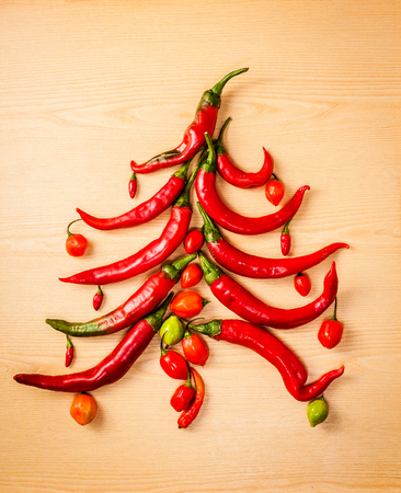 christmas tree made with chillies