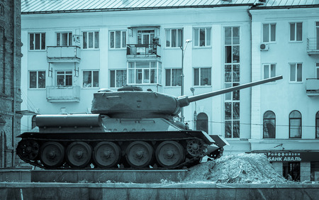 armor tank in a kharkov square in ukraine