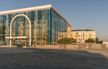 middle east fighting: armored tank in kharkiv Freedom square and museum