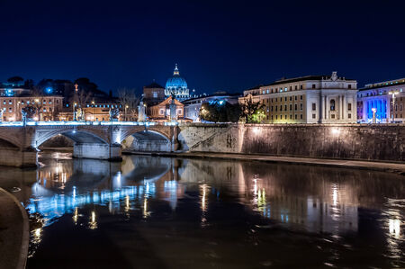 nightview: Saint Angel Castle in nightview, rome italy