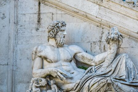 tevere: Rome, Italy, - January 05, 2015: Campidoglio square, The Tevere Statue dating IV Century