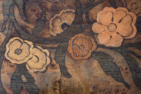 walnut burl: fine handcraft inlay on a wood table