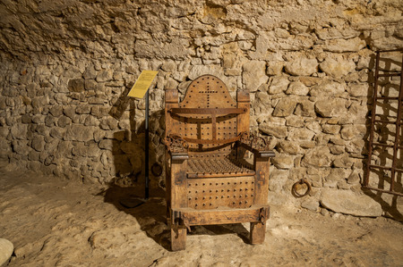 condemnation: torture tools used in medieval age in italy Stock Photo