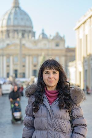 pietro: Nice girl in san pietro square in rome Italy