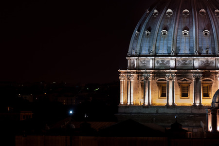 nightview: nightview of San Peter Dome in rome italy