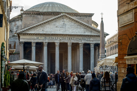 obelisk stone: pantheon view and particular of the ancient church in rome italy Editorial