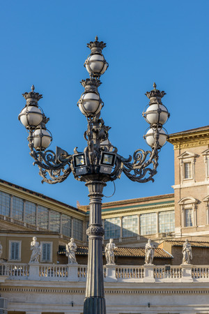 pietro: Particulars of San Pietro Church and the column in the square, Rome Italy, Lamp