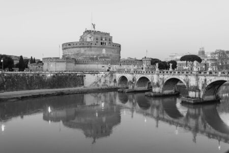 tevere: Rome, Italy - January 04, 2015: Landscape of castel santangelo in rome along the tiber river, italy