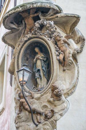 navona: Statues near Piazza Navona Navona square in rome italy Stock Photo