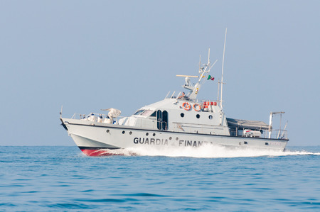 coastguard: Anzio, Italy - August 12, 2010: a coastguard ship patrolling the sea in italy Editorial