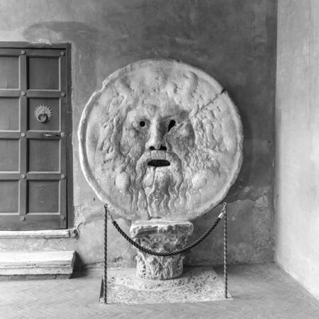 manlike: is an image, carved from Pavonazzo marble, of a man-like face, located in the portico of the church of Santa Maria in Cosmedin in Rome, Italy.