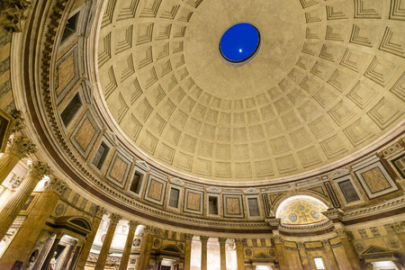 italian architecture: Rome, Italy - March 28, 2015: The dome of the pantheon, moon appear from the dome hole Editorial