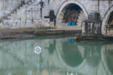 tevere: bridge on tevere river in rome near vatican