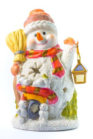 depicts: a centerpiece which depicts a snowman Stock Photo