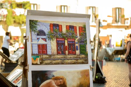 navona: Rome, Italy - August 22, 2015: the famous Navona square pictures to sell to toursits Editorial