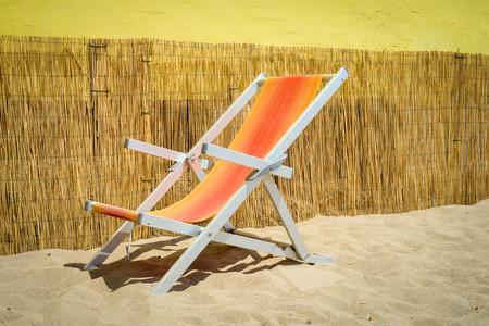 deckchair: colorful deckchair in an italian beach Stock Photo