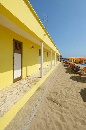 locker room: typical italian beach with yellow locker room Stock Photo