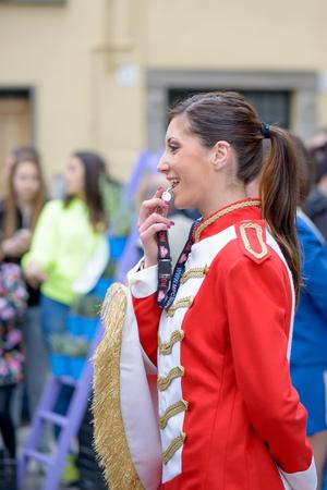 Monte Porzio, Italy - April  19, 2015: Majorettes show  during a village festival in Monte Porzio near Rome, Italy Editorial