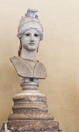 athena: goddess athena head stone statue in rome italy Stock Photo