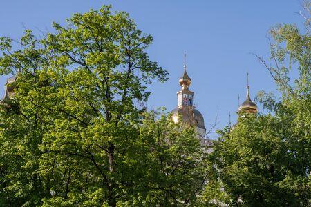 Domes of The Holy Virgin Monastery in kharkiv, Ukraine