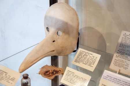 San Leo, Italy - February 23 - 2010: a real ancient plague mask used in medieval age by doctors 報道画像