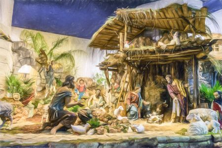 Photo of a Nativity retouched to look like a painting
