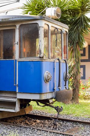 Old blue train used in 1970 italian subway