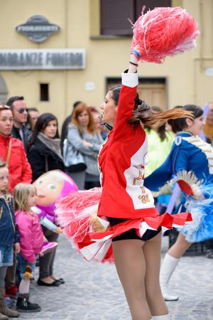 Monte Porzio, Italy - April  19, 2015: Majorettes girl dance  during a village festival in Monte Porzio near Rome, Italy