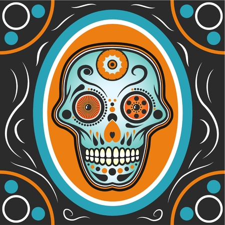 mexican folklore: Modern Mexican sugar skull illustration with decorations. Illustration