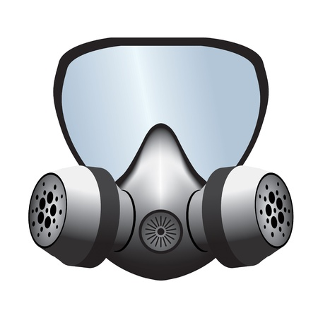 gasmasker: Eenvoudige gasmasker vector illustratie geà ¯ soleerd op wit Stock Illustratie
