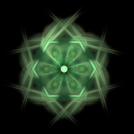 Fractal illustration of a green hexagon over a black background. Stock Illustration - 13130328