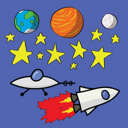 Kid drawing of planets, stars, an ufo and a spaceship. Vector