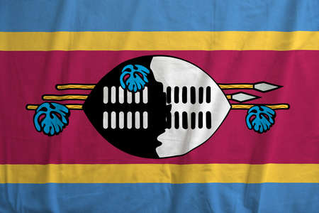 Fabric texture of the flag of Swaziland photo