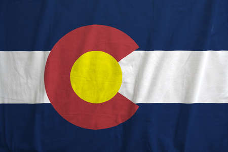 Fabric texture of the flag of the state of Colorado, USA photo