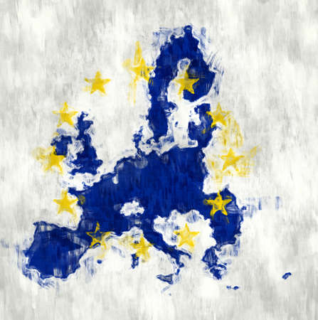 Map of the European Union hand painted with brushes. photo