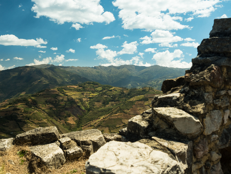 valley below: Panoramic view of a cultivated valley below the ruin of Kuelap, Peru