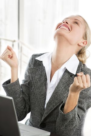 Attractive young business woman receiving good news while working on her laptop Stock Photo - 6012859