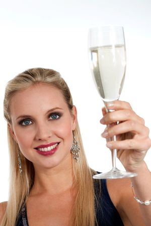 Beautiful blond woman celebrating New Years Eve or Birthday photo