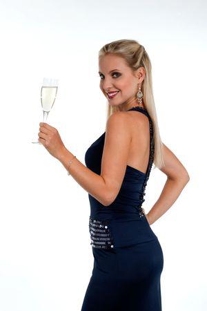 Beautiful blond woman celebrating New Years Eve or Birthday photo