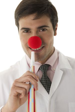 Male clown doctor isolated on white photo