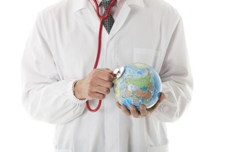 el mundo en tus manos: Mundial de la salud Foto de archivo