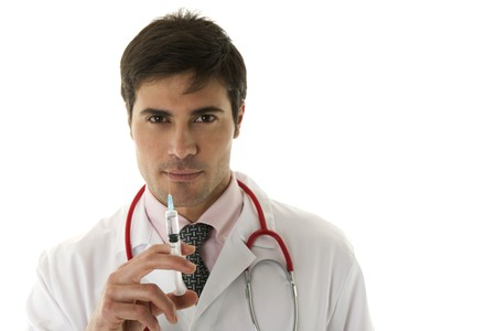 males only: Doctor holding a syringe