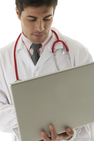 Doctor working on his laptop Stock Photo - 7112560