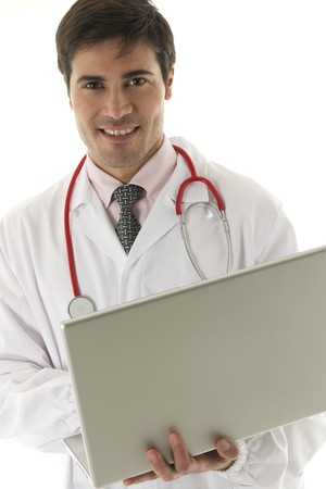 Doctor working on his laptop Stock Photo - 7112556