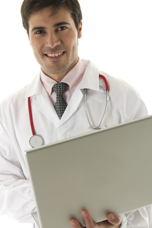 Doctor working on his laptop Stock Photo - 7112558