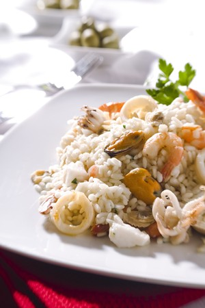 risotto: Seafood risotto: risotto with mussels, squids and prawns