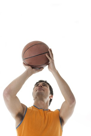 Basketball player, isolated on white photo
