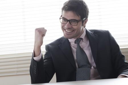 Businessman celebrating, fists raised Stock Photo - 7317066