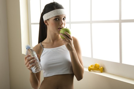 teenagers only: Healty eating and excercise. Concept: healthy lifestyle.