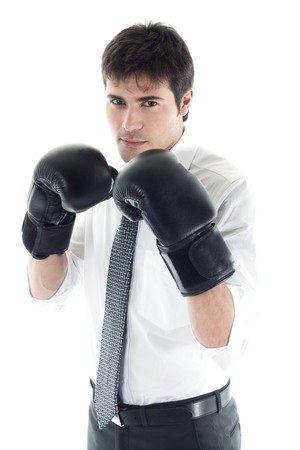aggressiveness: Businessman with boxing gloves. Concept: competition, aggressiveness. Stock Photo
